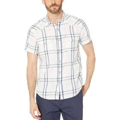 Lucky Brand - Lucky Brand White Plaid/Multi Short Sleeve Plaid Western Shirt