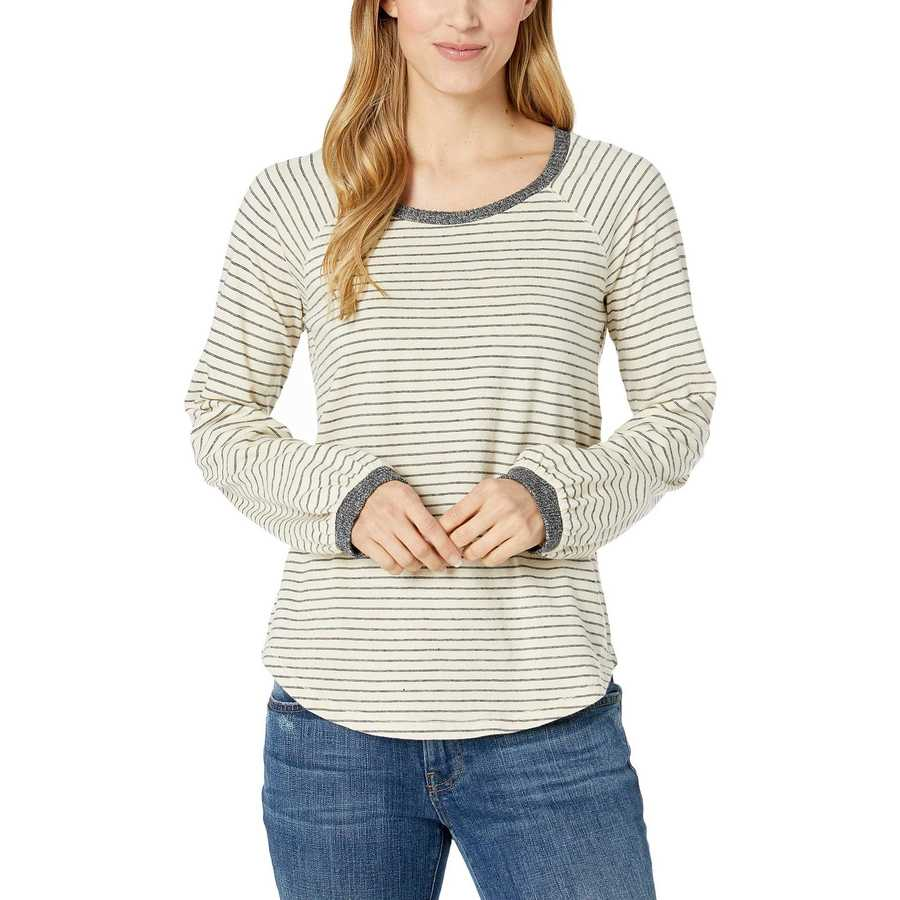 Lucky Brand White Stripe Balloon Sleeve Stripe Top