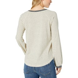 Lucky Brand White Stripe Balloon Sleeve Stripe Top - Thumbnail