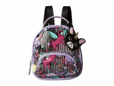 Luv Betsey - Luv Betsey Clear/Lavender Sage Clear Mini Donut Cat Print Backpack