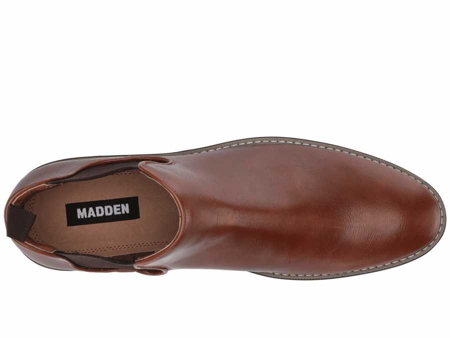 Madden By Steve Madden Men Cognac Leather New 6 Chelsea Boots