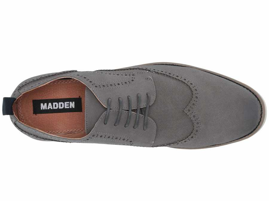 Madden By Steve Madden Men Grey Suede Last 6 Oxfords