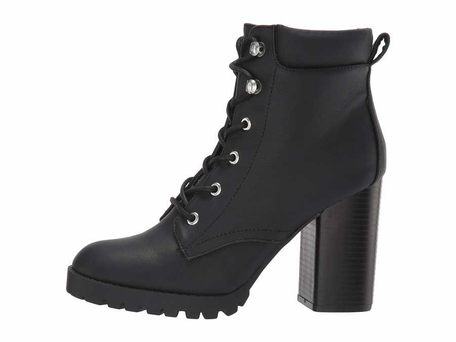Madden Girl Women Black Leonn Lace Up Boots