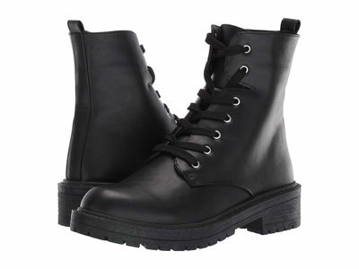 Madden Girl Women Black Paris Aleenna Lace Up Boots