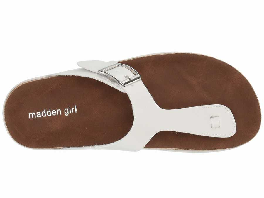 Madden Girl Women White Gemm Flat Sandals