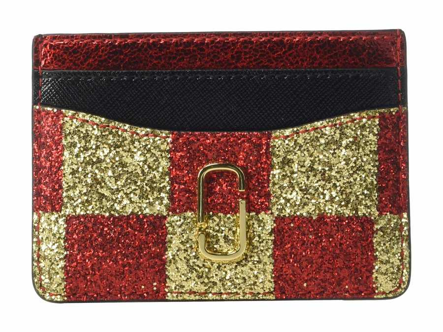 Marc Jacobs Gold Multi Snapshot Checkerboard Card Case Coin Card Case