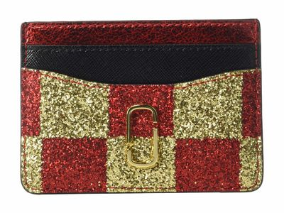 Marc Jacobs - Marc Jacobs Gold Multi Snapshot Checkerboard Card Case Coin Card Case