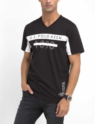 U.S. Polo Assn. - Men Black U.S. Polo Assn. 1890 V-Neck T-Shirt