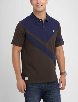 U.S. Polo Assn. - Men Brown Heather Colorblock Polo Shirt