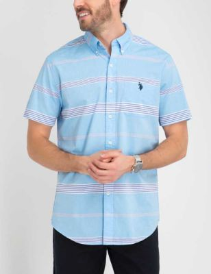 U.S. Polo Assn. - Men Coast Azure Horizontal Striped Madras Top
