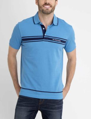U.S. Polo Assn. - Men Cool Mountain Blue Us Polo Chest Striped Polo Shirt