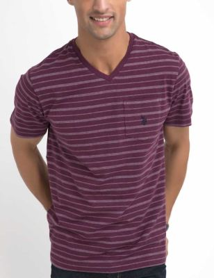 U.S. Polo Assn. - Men Cranberry Heather Birdseye Stripe V-Neck T-Shirt