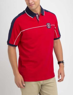 U.S. Polo Assn. - Men Engine Red Patched Colorblock Polo Shirt