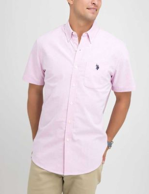 U.S. Polo Assn. - Men Light Pink Oxford Stretch Fit Shirt In Oxford