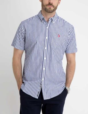 U.S. Polo Assn. - Men Marina Blue Striped Dobby Shirt