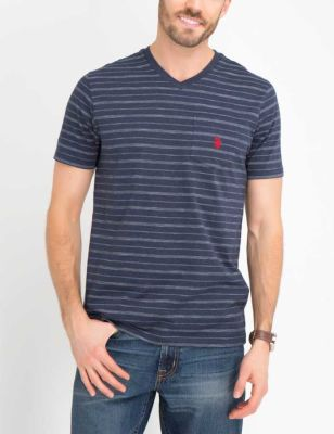 U.S. Polo Assn. - Men Navy Heather Birdseye Stripe V-Neck T-Shirt