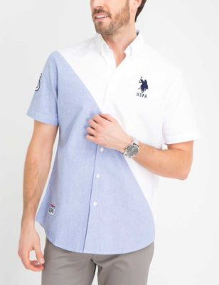 U.S. Polo Assn. - Men Optic White Diagonal Colorblock Oxford Shirt
