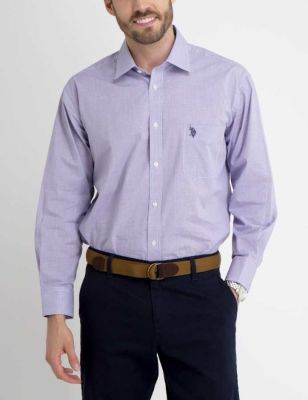U.S. Polo Assn. - Men Purple Plaid Dress Shirt