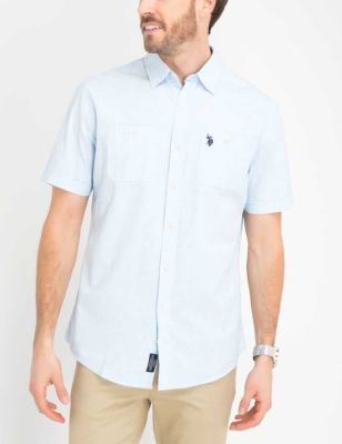 U.S. Polo Assn. - Men Tahoe Blue Slub Canvas Short Sleeve Shirt