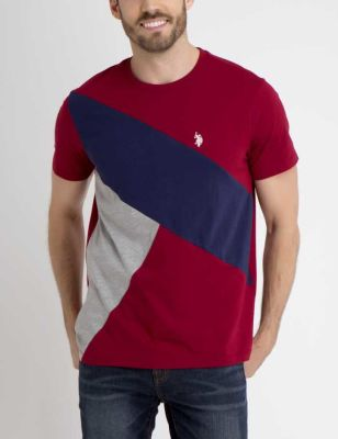 U.S. Polo Assn. - Men University Red Colorblock Tee