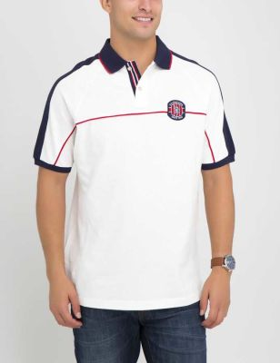 U.S. Polo Assn. - Men White Winter Patched Colorblock Polo Shirt