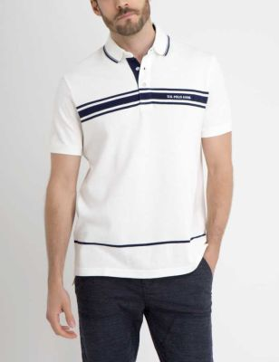 U.S. Polo Assn. - Men White Winter Us Polo Chest Striped Polo Shirt