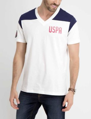 U.S. Polo Assn. - Men White Winter Uspa Colorblock T-Shirt