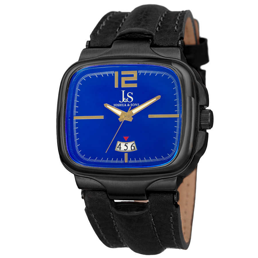 Men's black strap, gun case rectangle watch with a blue dial and date at 6. JX117BU