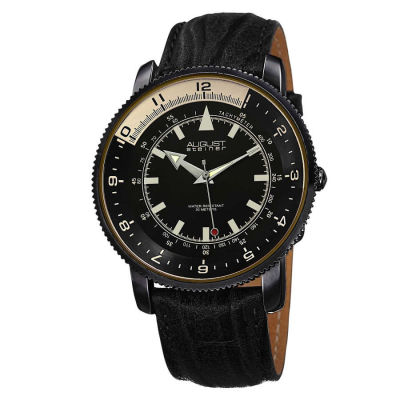 August Steiner - Men's Quartz Genuine Leather Strap Watch AS8124BK
