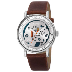 Men's Quartz Genuine Leather Strap Watch AS8183SSBR - Thumbnail