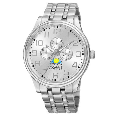 August Steiner - Men's Quartz Sun/moon Bracelet Watch AS8174SS