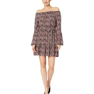 Mıchael Michael Kors - Mıchael Michael Kors Black/Electric Pink Mini Mod Square Neck Dress