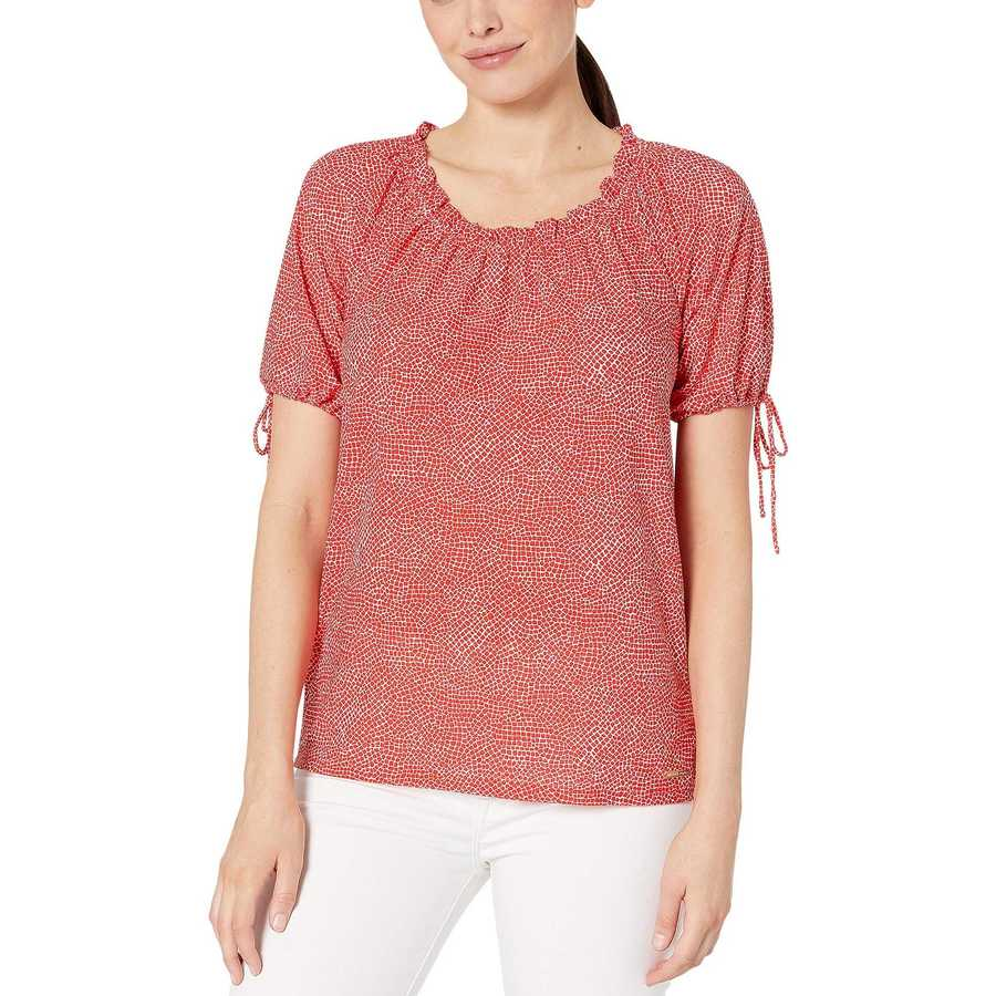 Mıchael Michael Kors Bright Ruby Mosaic Texture Shoulder Top