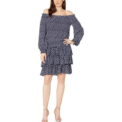 Mıchael Michael Kors - Mıchael Michael Kors Dark Lavender Ikat Off Shoulder Smock Dress