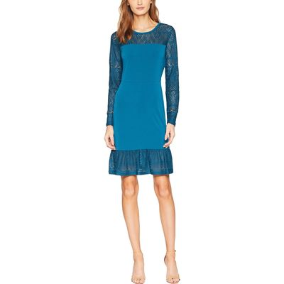 Mıchael Michael Kors - Mıchael Michael Kors Luxe Teal Fabric Mix Long Sleeve Dress