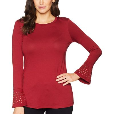 Mıchael Michael Kors - Mıchael Michael Kors Maroon Flare Cuff Long Sleeve Stud Top