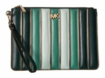 Michael Kors - Michael Michael Kors Racing Green Multi Medium Zip Pouch Clutch Bag