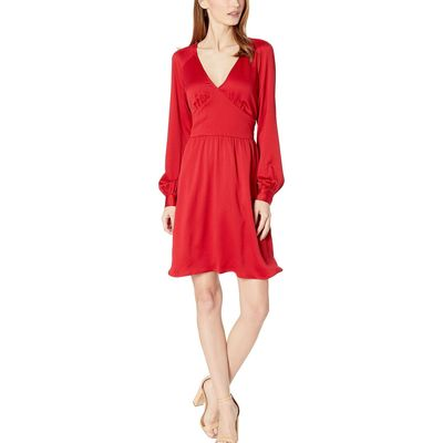 Mıchael Michael Kors - Mıchael Michael Kors Red Currant Raglan Sleeve Short Dress
