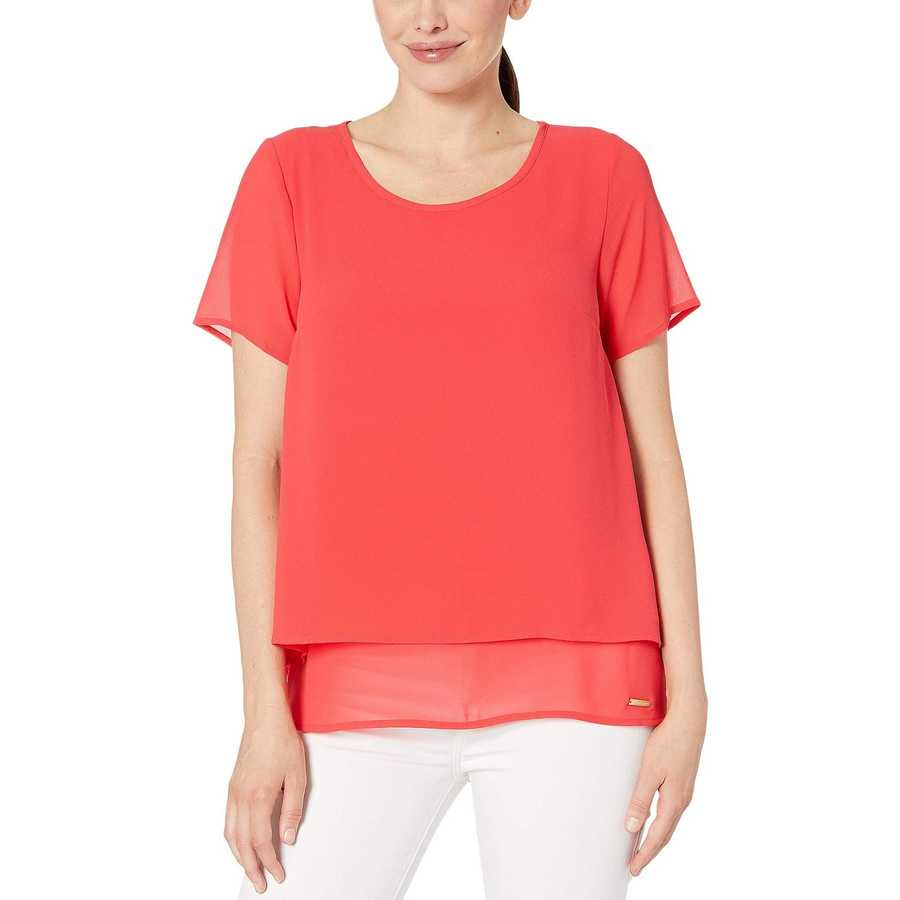 Mıchael Michael Kors Sea Coral Back Cut Out Short Sleeve Top