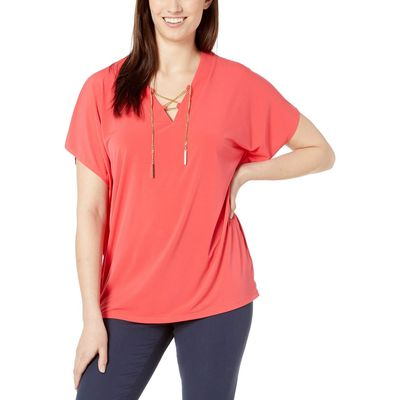 Mıchael Michael Kors - Mıchael Michael Kors Sea Coral Lace-Up Tunic Top
