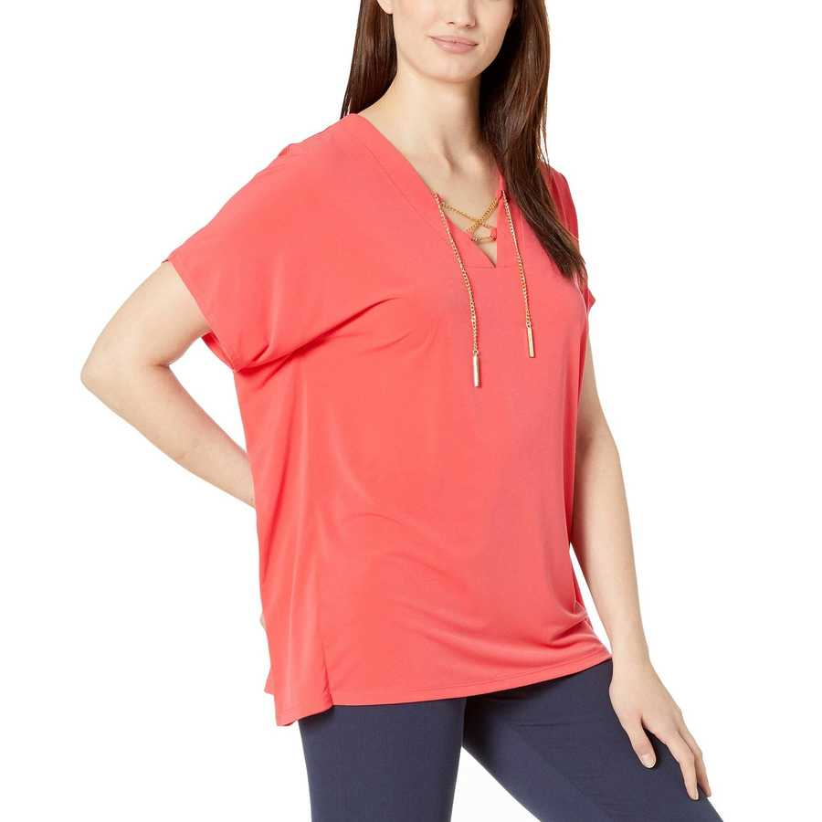 Mıchael Michael Kors Sea Coral Lace-Up Tunic Top