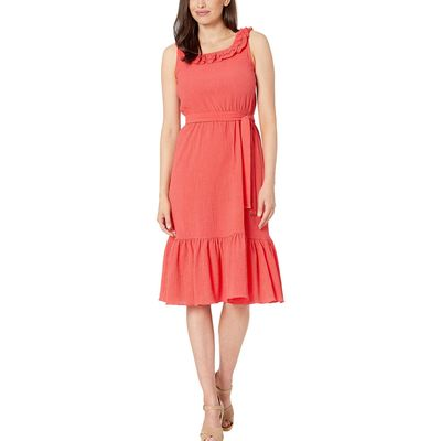Mıchael Michael Kors - Mıchael Michael Kors Sea Coral Pucker Square Neck Midi Dress