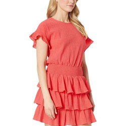 Mıchael Michael Kors Sea Coral Pucker T-Shirt Smock Dress - Thumbnail