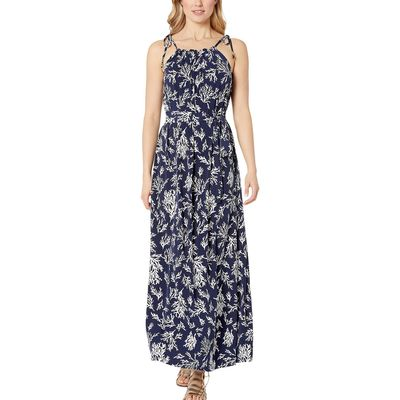 Mıchael Michael Kors - Mıchael Michael Kors True Navy Grommet Tie Neck Reef Maxi Dress