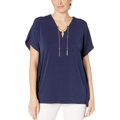 Mıchael Michael Kors - Mıchael Michael Kors True Navy Lace-Up Tunic Top