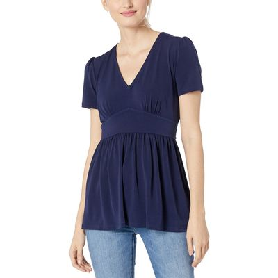 Mıchael Michael Kors - Mıchael Michael Kors True Navy V-Neck Puff Sleeve Top