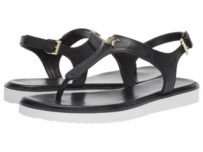 Michael Michael Kors - Michael Michael Kors Women Black Tumbled Leather Brady Thong Flat Sandals