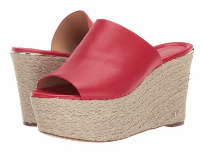 Michael Michael Kors - Michael Michael Kors Women Bright Red Cunningham Wedge Heeled Sandals
