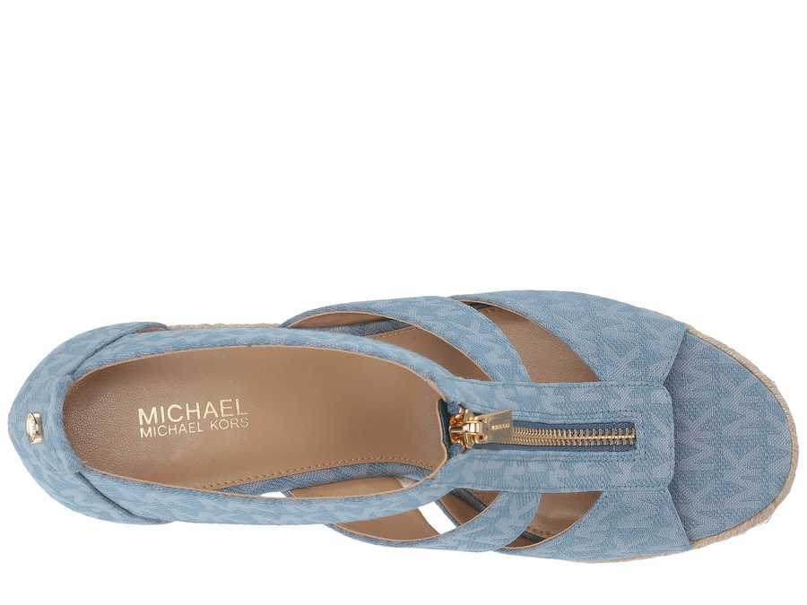 Michael Michael Kors Women Denim Damita Wedge Heeled Sandals