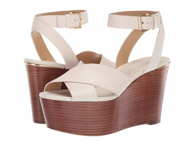 Michael Michael Kors - Michael Michael Kors Women Light Cream Abbottt Mid Wedge Heeled Sandals